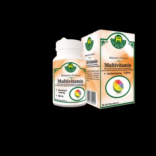 Herbária Multivitamin - Vitaminokat, ásványianyagokat, nyomelemeket, koenzim-Q10-et tartalmazó étrend-kiegészítő filmtabletta 30 db