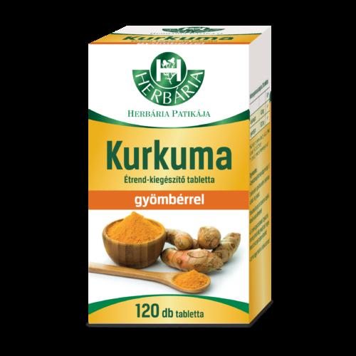 Herbária Kurkuma étrend-kiegészítő tabletta gyömbérrel 120 db