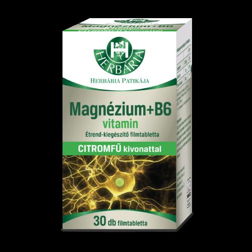 Herbária Magnézium + B6-vitamin citromfű kivonattal étrend-kiegészítő filmtabletta 30 db