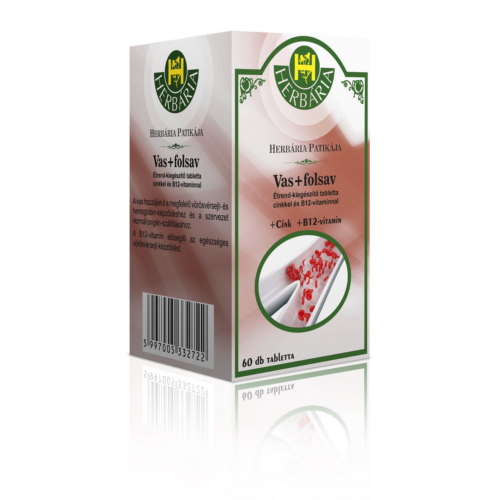 Herbária Vas+folsav étrend-kiegészítő tabletta cinkkel és B12-vitaminnal